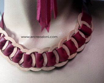 Leather choker necklace burgundy