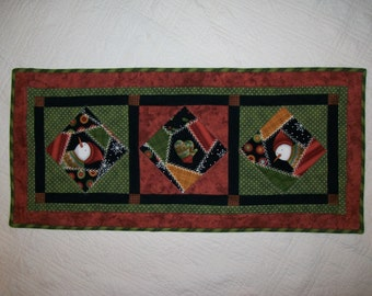 Snowman table runner - winter mittens flannel topper - green black white rust gold brown - earth tone colors - housewarming gift