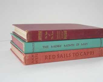 Vintage Book Set, 3 Hardcover Decorative Books, Red Turquoise Books, Red Sails to Capri, The Merry Month of May, The Sign of the Ram