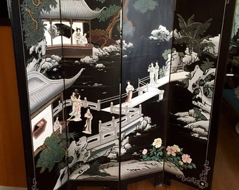 Vintage Four Panel Chinese Coromandel Room Divider Screen