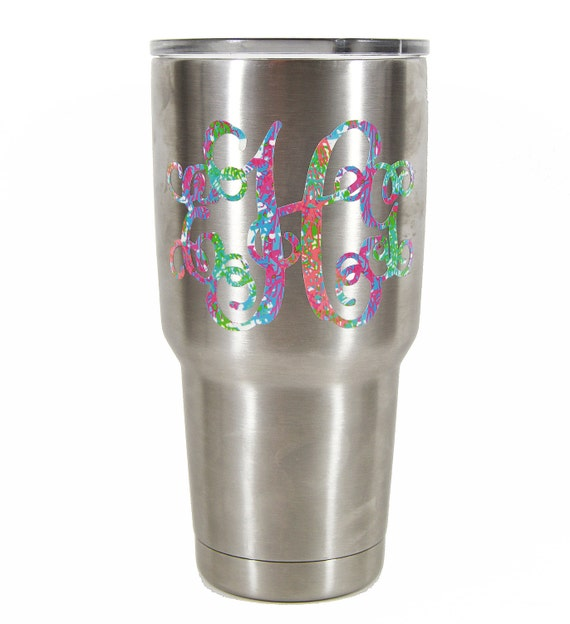 Yeti Tumbler Decal Yeti Cup Decal Monogram Stickers Lilly Inspired Monogrammed Vinyl Decal For Yeti Monogram For Women Colorful Coral