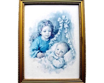 Vintage Framed Print Guardian Angel and Baby Cradle Mid Centurychild nursery baby's room sentimental prayer religion