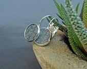 Metallic grey salmon leather earrings, eco fish leather earrings, eco salmon hide earrings, elegant earrings, fish lether jewelry