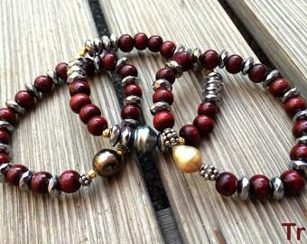 Tahitian and Australian Pearls, woman bracelets hippie chic style, stretch bracelets