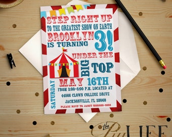 Birthday Invitation | Tumble and Fly Under The Big Top Circus Birthday Invitation Printable DIY No. I53