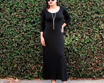 Boho Dress - Plus Size Dress - Floor Length Dress - Maxi Dress - Loose Dress - Long Black Dress - Winter Dress - Scoop Neck - 3/4 Sleeves