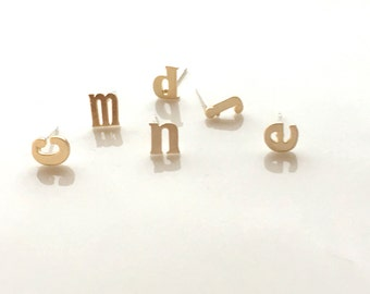 Gold Initial Stud Earrings, Silver Lower Case Initial Stud Earrings, Rose Gold Alphabet Earring Post, 925 Sterling Silver Posts