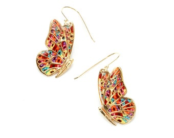 Butterfly Dangle Earrings – Gold Plated Sterling Silver Handmade Jewelry with Multicolored Millefiori Polymer Clay