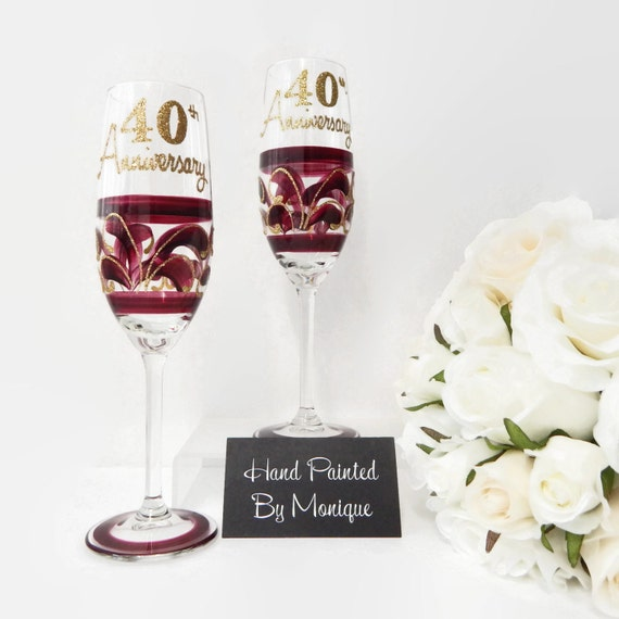 Ruby Wedding Gift For Parents : ... Ruby 40th Anniversary Champagne or Wine Glass Gift Set For Parents