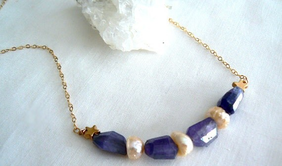 Tanzanite gemstone pearls necklace- Gold filled tanzanite freshwater pearls necklace- Blue stone pendant-Fashion boho jewelry- Women gift