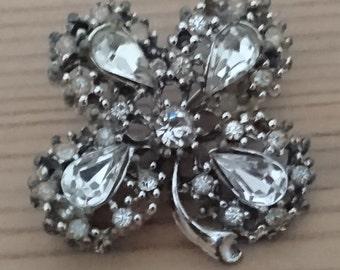Vintage rhinestone four leaf clover brooch