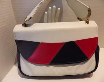 1960s Vintage Handbag Red White Navy Blue