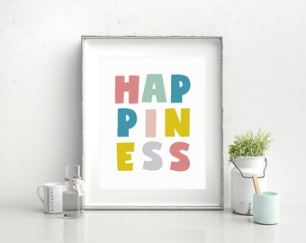 Happiness Printable Art, Scandinavian Art, Nursery Art Download, Playroom Decor, Kid Wall Art, Wall Art for Kid, Nursery Decor, B092