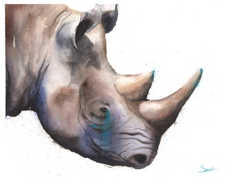 RHINO ART PRINT - rhino watercolor, rhino painting, rhino print, rhino portrait, rhinoceros art, african rhino, black rhino, animal art