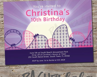 Roller Coaster, Birthday Invitation, Printable, DIY