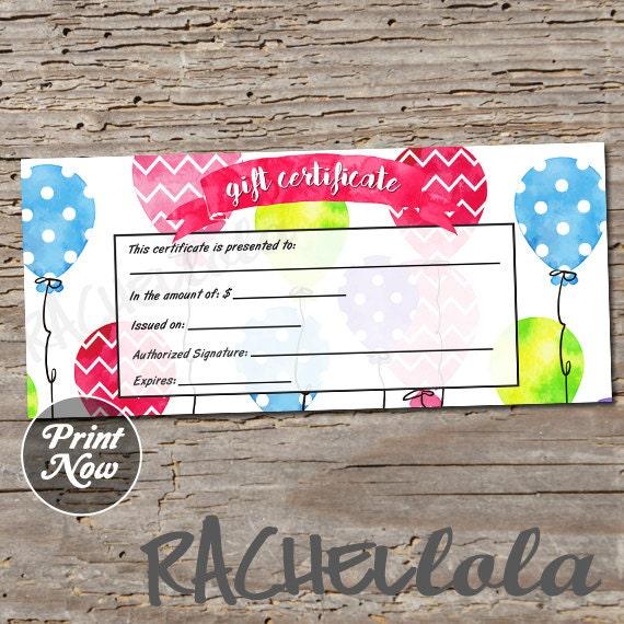 Balloon, Printable Gift Certificate Template, Birthday