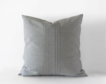 Grey decorative pillow cover with pleats in 16x16 inches - 18x18 inches - 20x20 inches - 20x12 inches - indoor and outdoor pillow case
