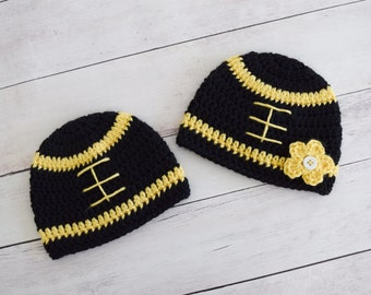 Black and Yellow Football Beanie - Girls or Boys Black and Yellow Newborn Hat - Great Gift or Photo Prop A