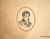 Captain Meriwether Lewis Rubber Stamp - 2 x 2 inches