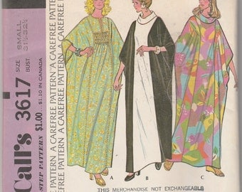 """McCall's 3617  Misses' Caftan Size Small Bust 31.5""""-32.5"""""""