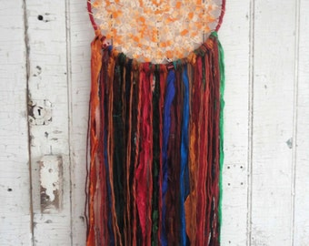 "DREAMCATCHER Bohemian Gypsy Recycled Silk Vintage 10"" Dream Catcher Decor Wall Hanging 301"