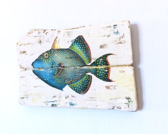 Nautical Fish Plaque made in Driftwood