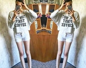 OK, but first coffee tshirt funny tshirt teen shirts women 3/4 sleeve off shoulder sweatshirt dolman top oversized 3/4 sleeve women tshirt