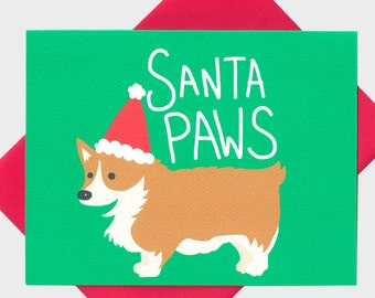 Corgi Christmas Card - Cute Animal Love Card - Santa Paws - Cute Dog Christmas Card - Dog Card -Corgi - Cute Holiday Card - Christmas Card