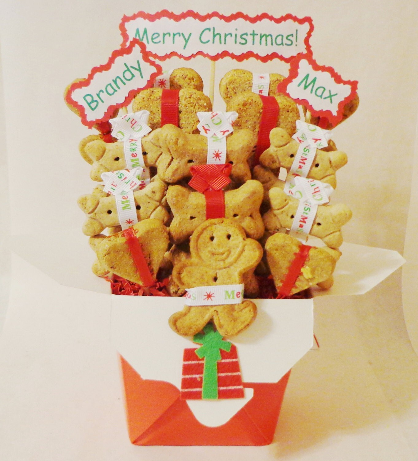 Etsy Dog Gift Baskets : Christmas dog treat gift basket biscuits by treatworthypet