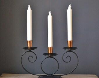 Vintage Black and Copper Triple Candelabra