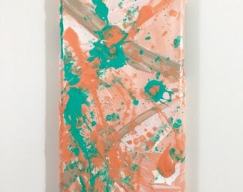iPhone 6 Case - Abstract Hand Painted - Cellphone Accessories -  hard plastic cover - Tangerine Orange Green Teal White Gold