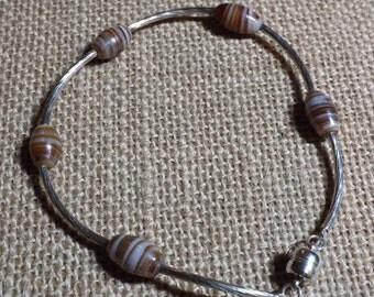 Silver Bracelet Earthtone Bead Count Your Blessings #373