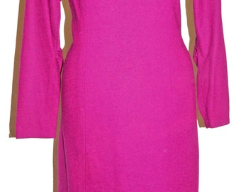 1960s Purple Wool Dress Sz 14 Vintage Retro