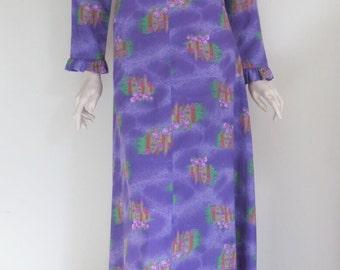 Gorgeous 60s 70s Lilac Floral Novelty Print Frilled Maxi Dress / Empire Waist / Medium