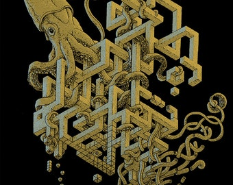 Surreal Art - Giant Squid Art - Optical Illusion - Surrealism - Octopus Art - Cool Gifts - Odd Art - Strange - 8x10 +