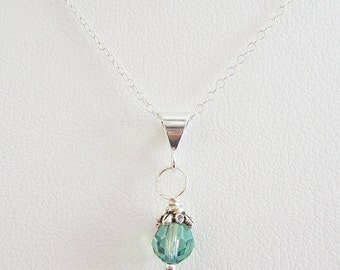 Spearmint 6mm Swarovski Crystal Pendant Charm and Necklace, Birthstone Charm, Crystal Necklace, Crystal Charm, Crystal Pendant