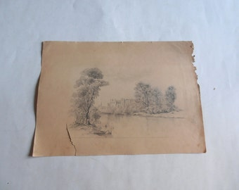 antique original drawing, village and river