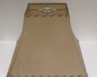 """Vintage Tan Spun Fiberglass Lampshade, Caramel Flared Square Parchment, 1950s Laced Lamp Shade 8"""" tall"""