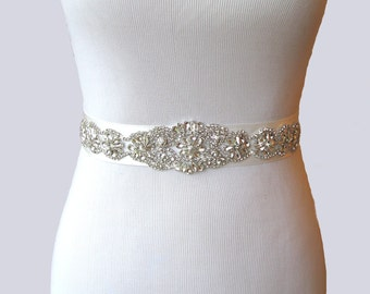 Wedding Sash, Crystal Rhinestone Bridal Belt, Satin Ribbon Dress Sash, Beaded Bridal Belt, Jeweled Satin Wedding Gown Sash, 35 Satin Colors