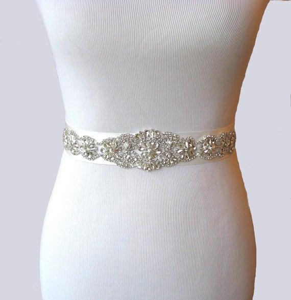 Wedding Sash Crystal Rhinestone Bridal Belt Satin Ribbon