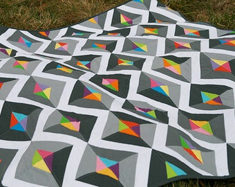 Prism quilt pattern by Fresh Lemons - modern quilt pattern, scrap quilt, modern traditionalist, advanced beginner, diamond, paper piecing