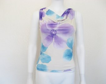 90s Pastel Floral Print Cowl Neck sleeveless shirt -small