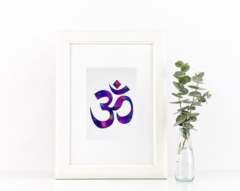 Yoga Print, Om watercolor decor, Yoga art, om print, Aum Buddhism, purple om print, yoga studio decor, yoga prints, zen art, om art