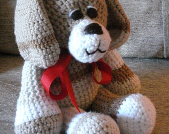 "Crocheted puppy dog stuffed animal doll toy ""Chip"""