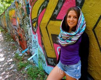 Boho Geo Aztec Woven Festival Cowl Hood With Built In Hidden Pocket