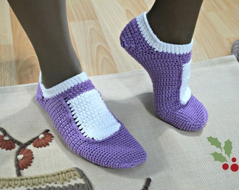 mary jane slippers lilac or green for women in 100% cotton yarn