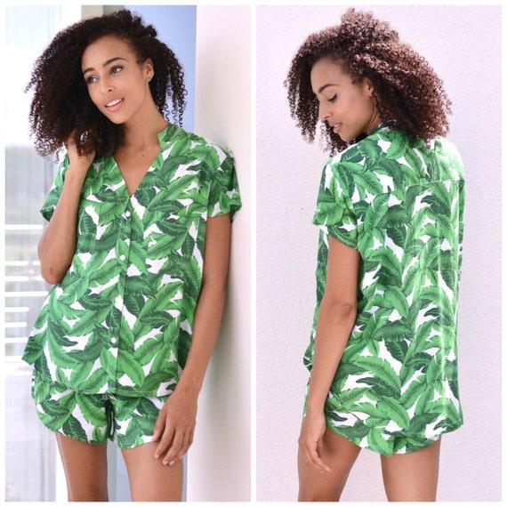 Maggie Pajama Set - Banana Leaf WHITE - Code P043 / P005