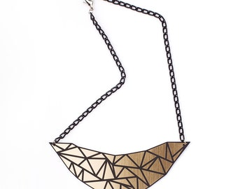 Geometry Black&Gold Perspex Necklace Triangle Abstract Necklace Statement Geometric Necklace