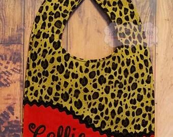Personalized Bib, - Monogrammed Baby Bib, - Red and Leopard Print, - Reversible Baby Bib, - Baby Shower Gift