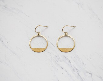 Brass Half Circle Dangle Earrings